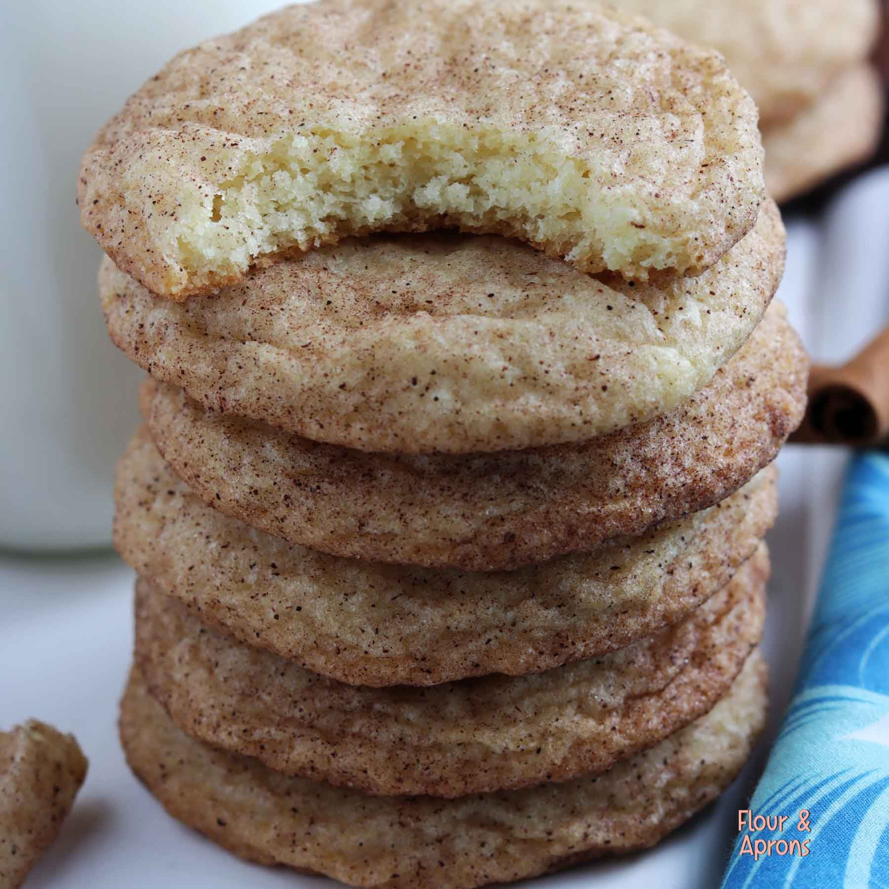Stock of snickerdoodle cookies with a bite taken out of the top one.
