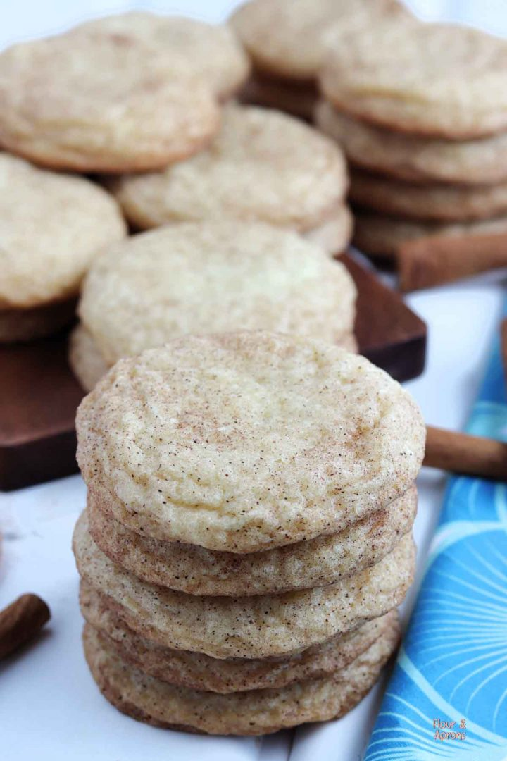 Closeup of a stack of snickerdoodle cookies.